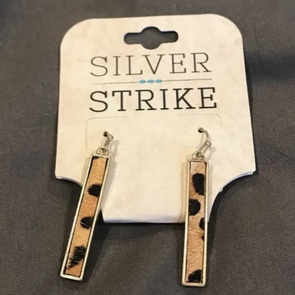 Silver Strike leopard hair earrings
