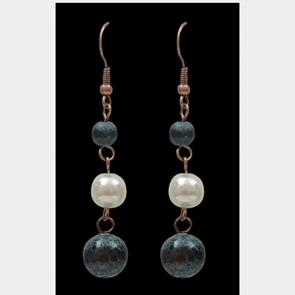 Silver Strike Patina & Pearl bead earrings