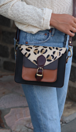 Faux leopard and leather crossbody
