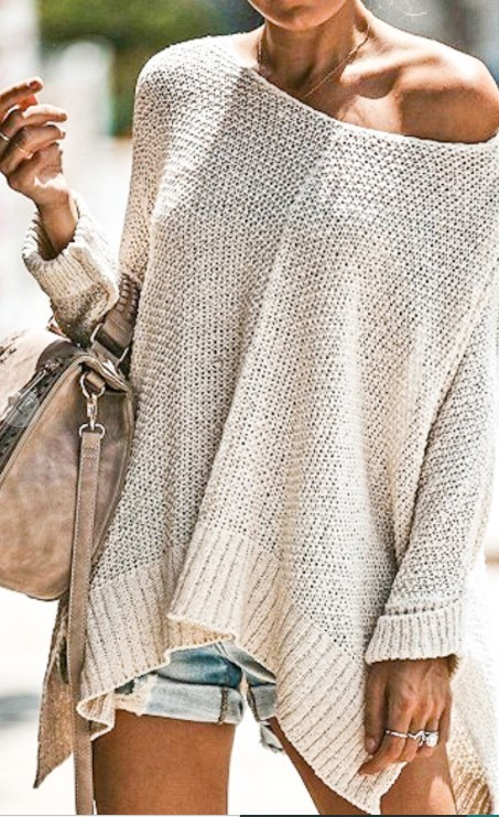 Loose Fit Boat Neck Knit Sweater-  Cream
