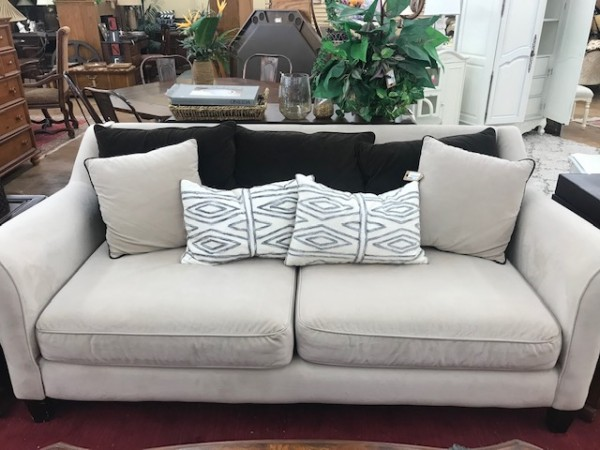 Cream Short Velvet Sofa