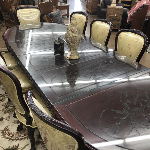 * Japanese Rosewood carved dining table w/glass top 10 chairs 50% OFF