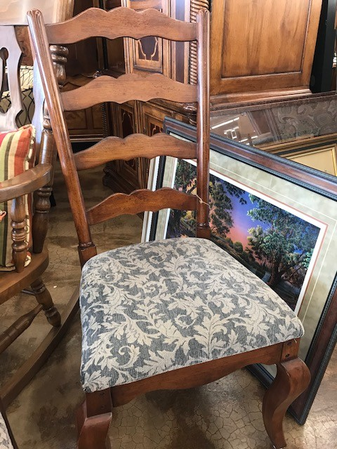 * Four Upholstered Ladder-Back Chairs