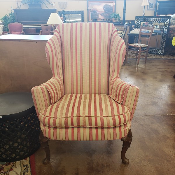 Pink Striped Wingback Chair