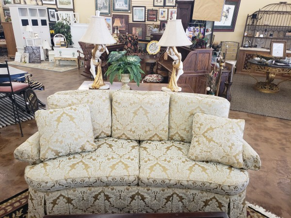 Century Green and Gold Damask Sofa