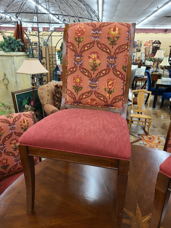* Custom Brunschwig & Fils Red Upholstered Dining Chairs