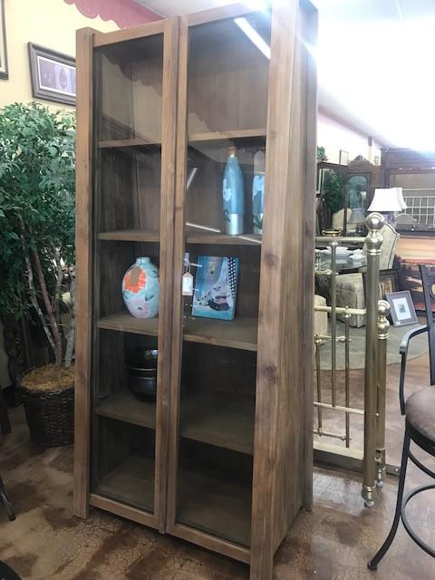 Angled Bookcase W/ Glass Sliding Doors