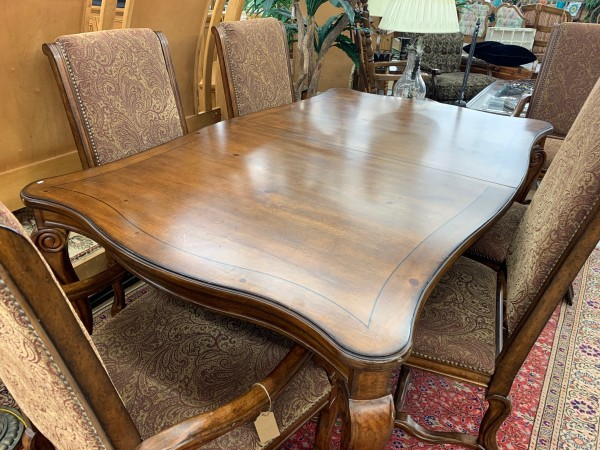 Dark Wood Dining Table with Nailhead Chairs