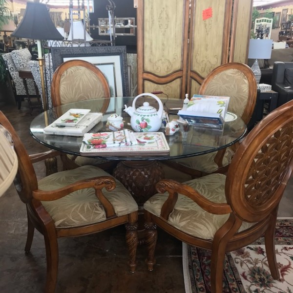 Carousel Consignment Dining Table Chairs Set 17j001