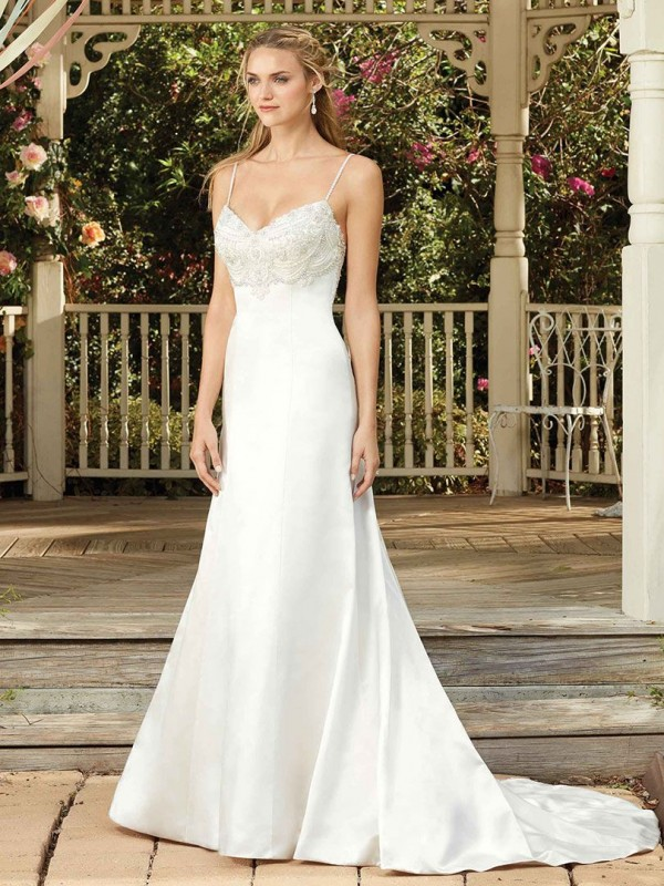 Wedding Dress - Ivory, Beaded Top and Back