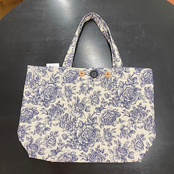 Reversible Bag - White with Blue Roses