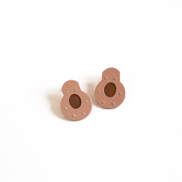 Peach Cellulose Window Earrings - Round (KT-022)