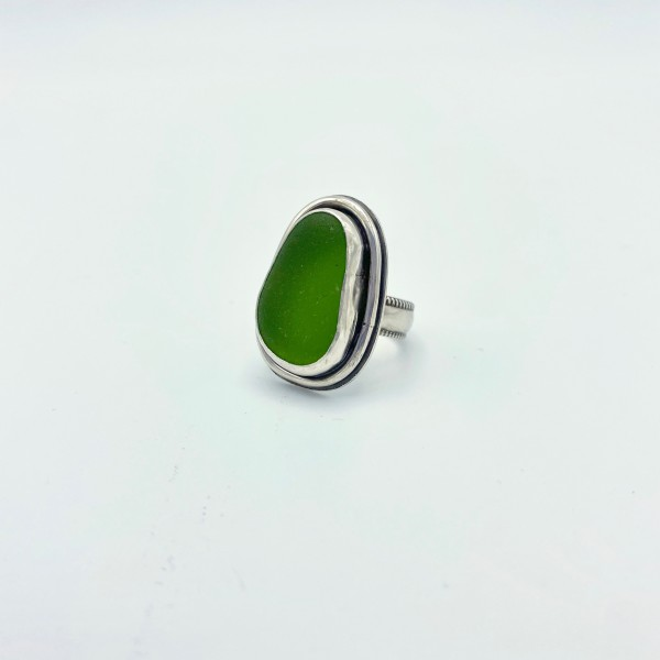 Lime Green Sea Glass Ring (PG-113)