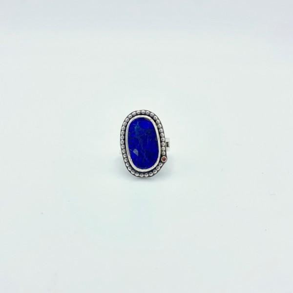 Australian Blue Opal & Padparadscha Sapphire Ring (PG-111)