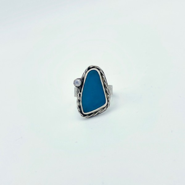 Turquoise Sea Glass & Cubic Zirconia Ring (PG-112)