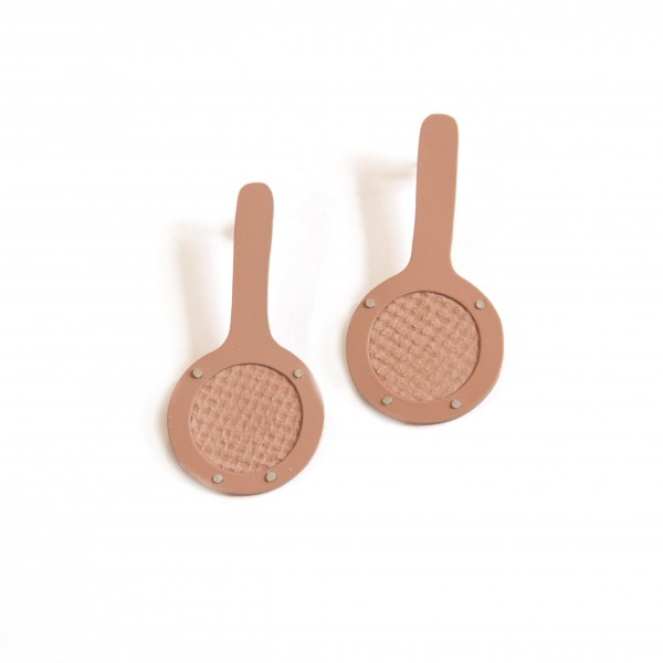 Peach & Patterned Leather Pops (KT-025)