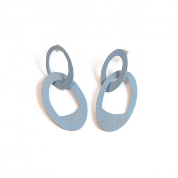 Blue Interlocking Chain Drop Earrings (KT-023)