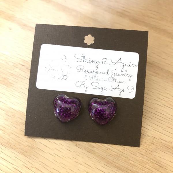 Purple Glitter Hearts Stud Earrings