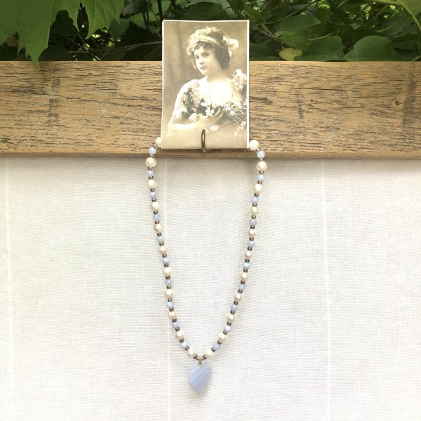 LIGHT BLUE STONE HEART & PEARL NECKLACE