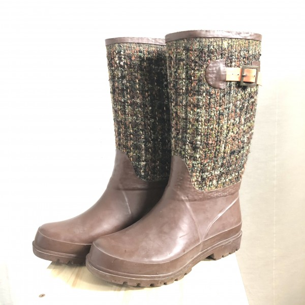 CUTE BROWN AND TWEED RUBBER BOOTS