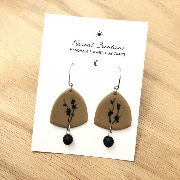 Artisan Polymer Clay - Beige & Black Beauty Earrings