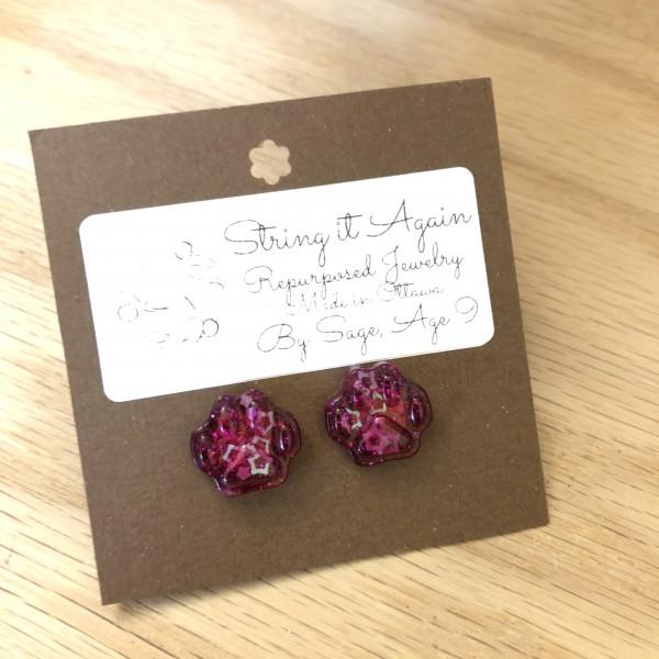 Pink Glitter Paw Prints Resin Stud Earrings