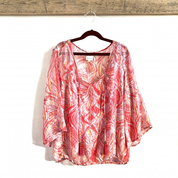 ELLA MOSS 2PC FLOWY RED FEATHER PRINT TOP