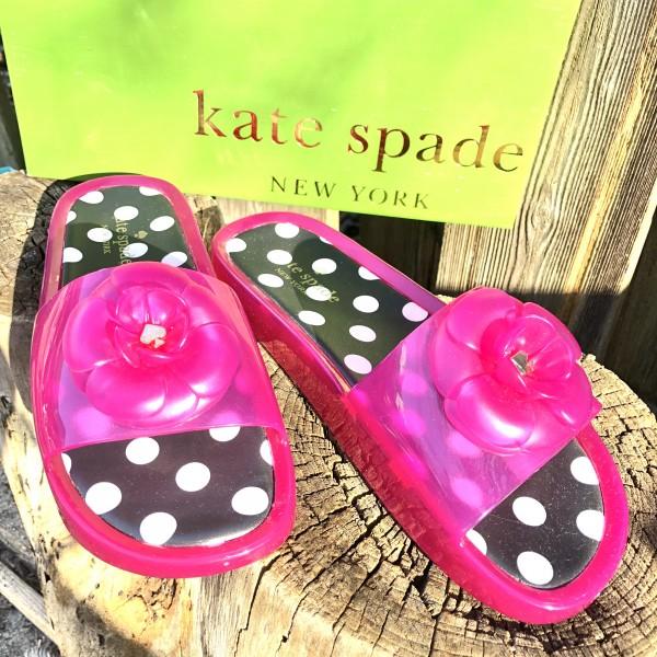 KATE SPADE HOT PINK FLOWER JELLY SLIP ON SANDALS