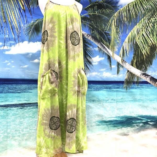 VASNA GREEN LINED TIE DYE MAXI DRESS