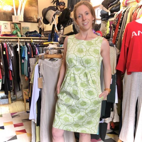 JOE BRIGHT GREEN FLORAL PRINT SHEATH DRESS