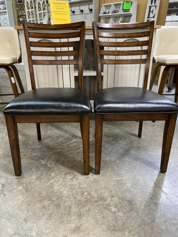 Set of Two Wood Chairs with Black Leather Set