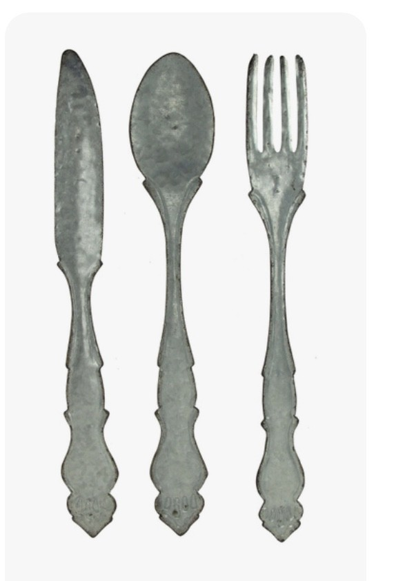 BRAND NEW Large Galvanized Metal Fork Spoon Knife Farmhouse Decor Kitchen Wall Hanging