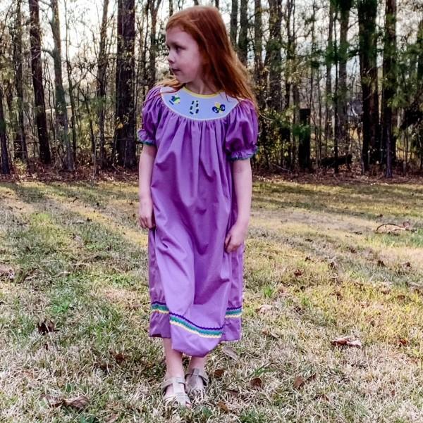 Mardi Gras Smocked Dress