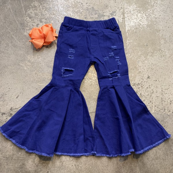 Blue Distressed Bell Bottoms