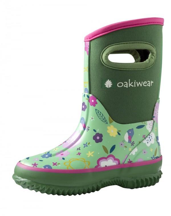 Oaki Green Floral Neoprene Boots
