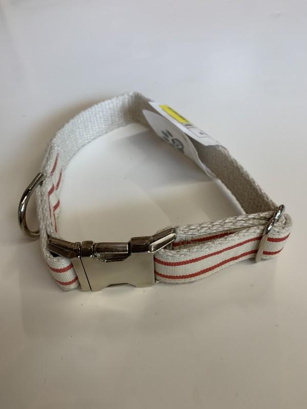 Wiggly Woos Hemp Red Stripe Med. Dog Collar