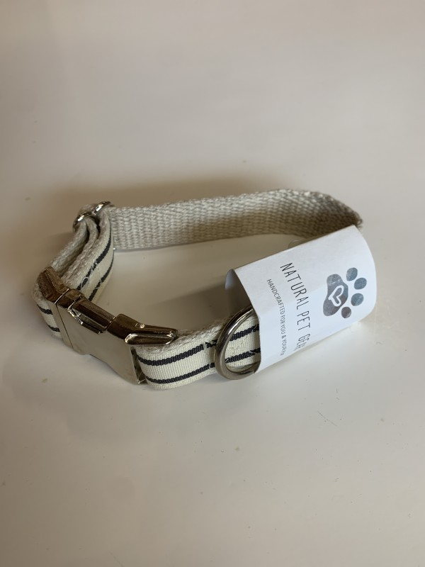Wiggly Woos Hemp Navy Stripe Small Dog Collar