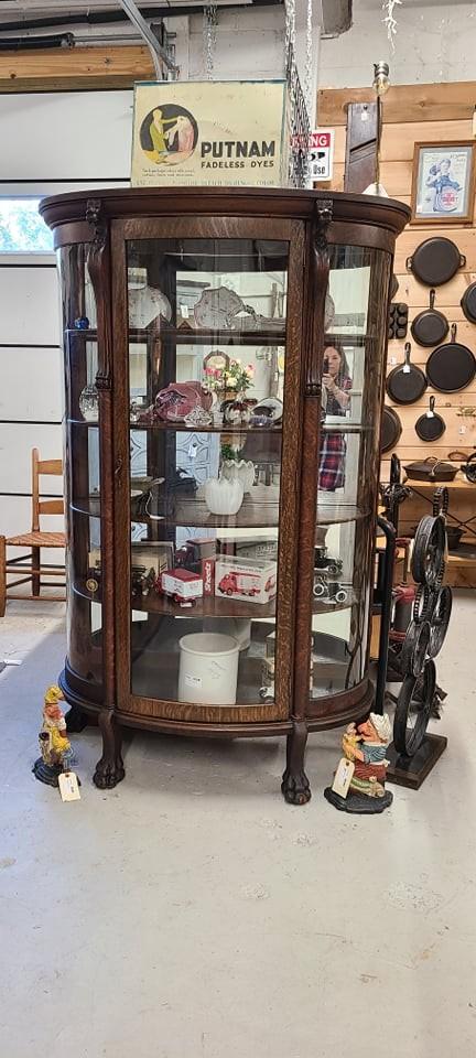 Antique Curio Cabinet, mirrored back