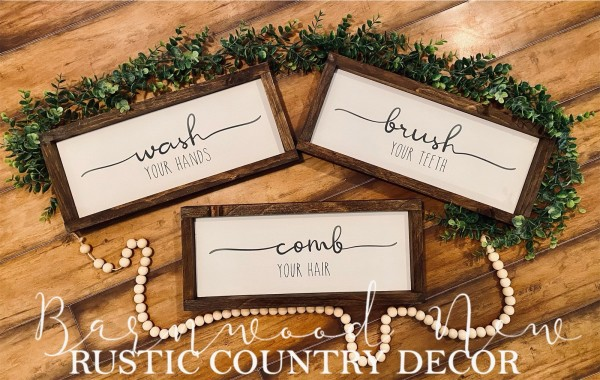 Wash Comb Brush Sign Set (set of 3)
