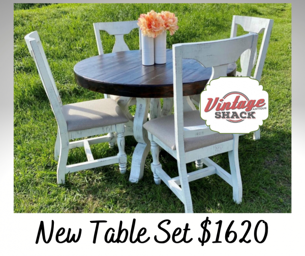 Tiffany Table Top Nero White Rodeo Top w/ 4 chairs