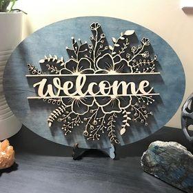 DIY Folk Floral Welcome Sign