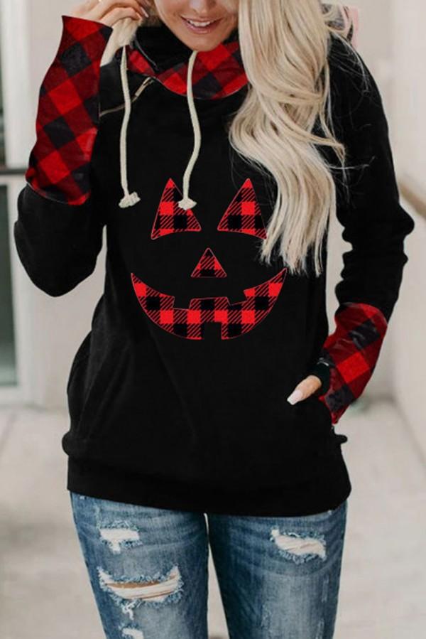 Black and Red Plaid Pumpkin Hoodie Sweatshirt