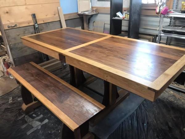 Walnut & Oak Dining Table w/ Bench