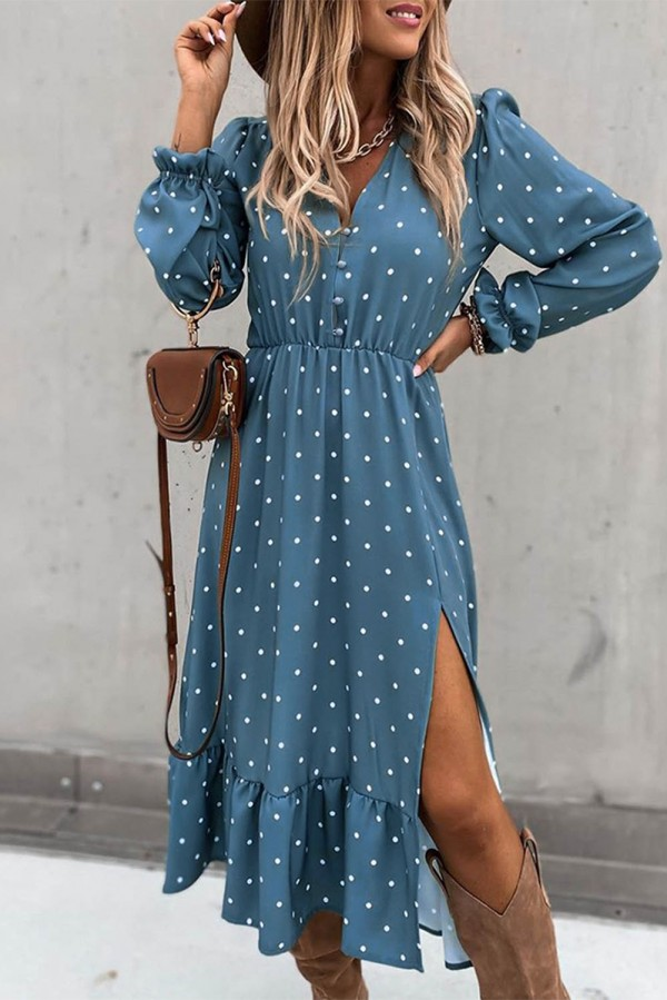 Blue Bohemian Long Sleeve White Polka Dot Midi Dress L