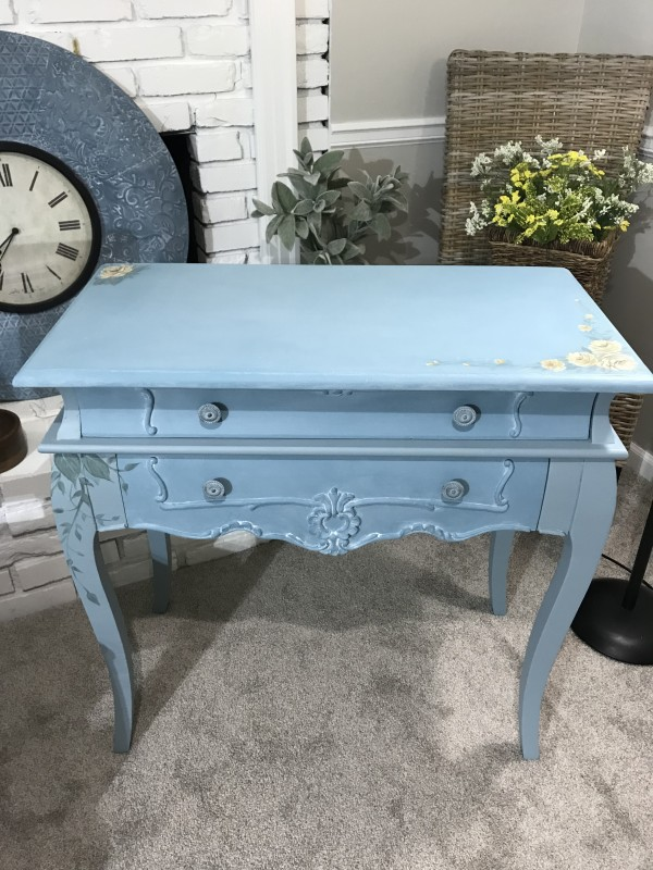 2 drawer Blue Side Table