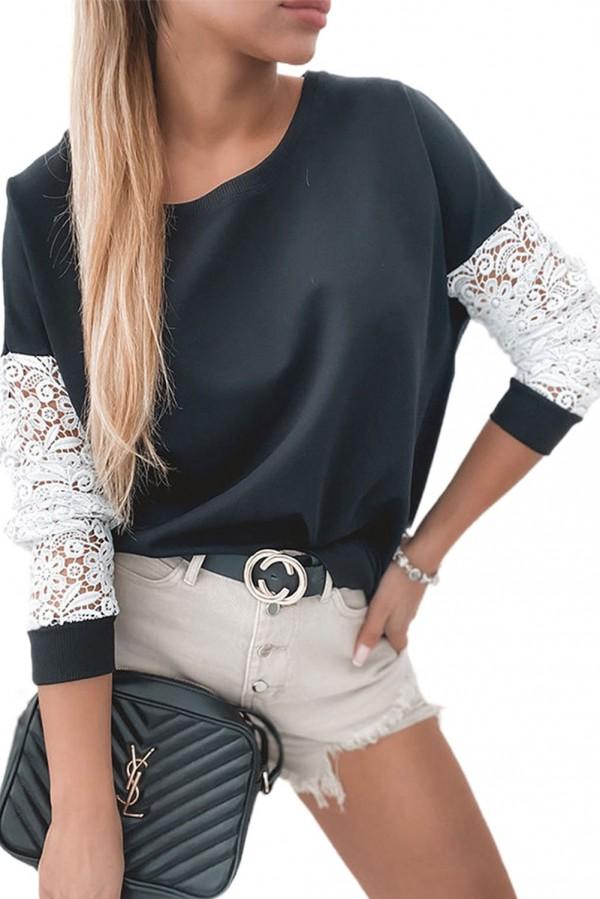 Black Crochet Lace Top M