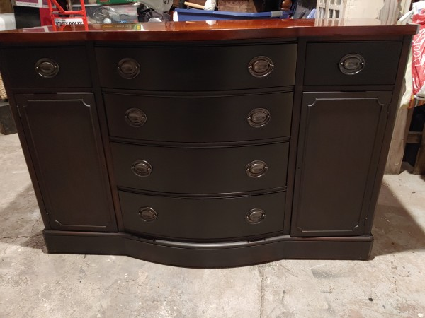Drexel Buffet 1955 - Black and Stain 6 Drawers/Cabinet Doors with Shelf