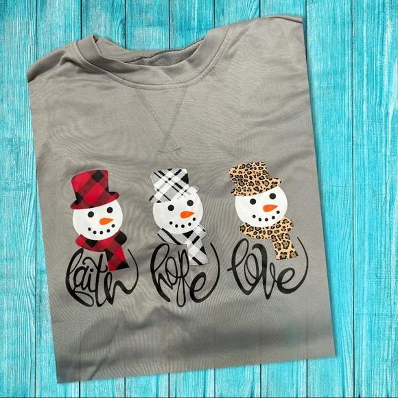 Christmas Snowman Faith Hope & Love Sweatshirt XL