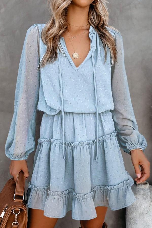 Blue Swiss Dot Long Sleeve Mini Dress Small