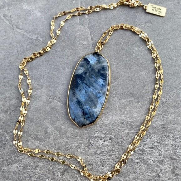 Brilliant Spectrolite 22KGold Brass Chain Necklace